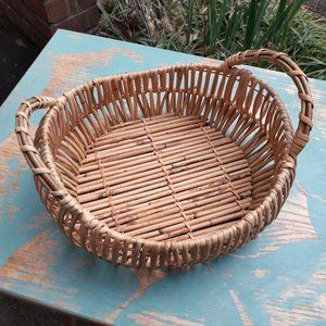 Vintage Wicker Basket with Handles Boho Decor MCM